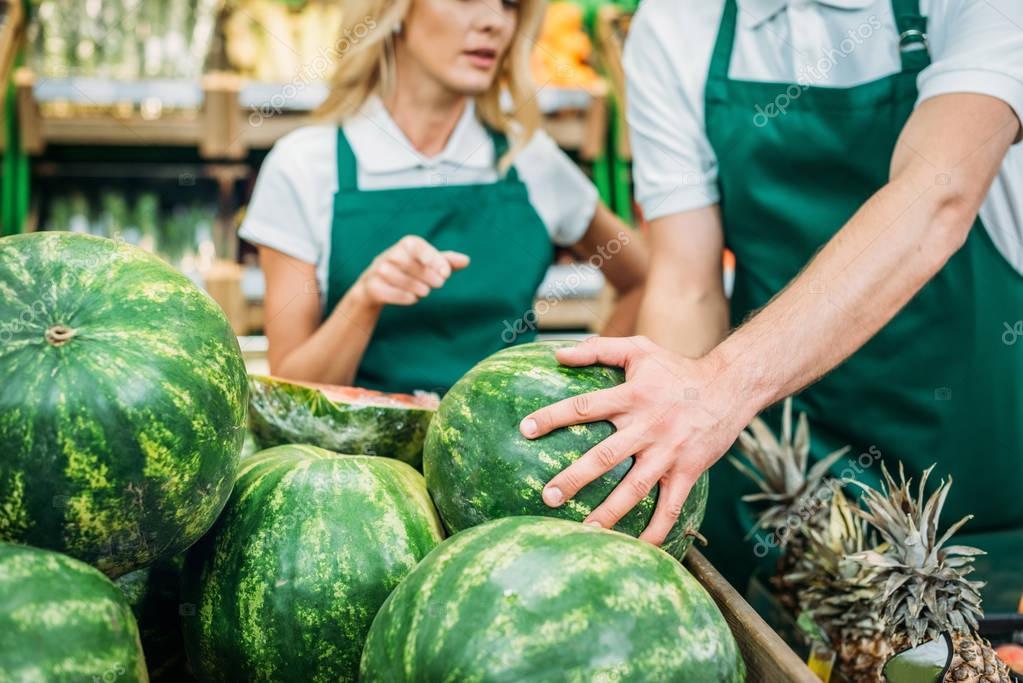 shop assistants in supermarket