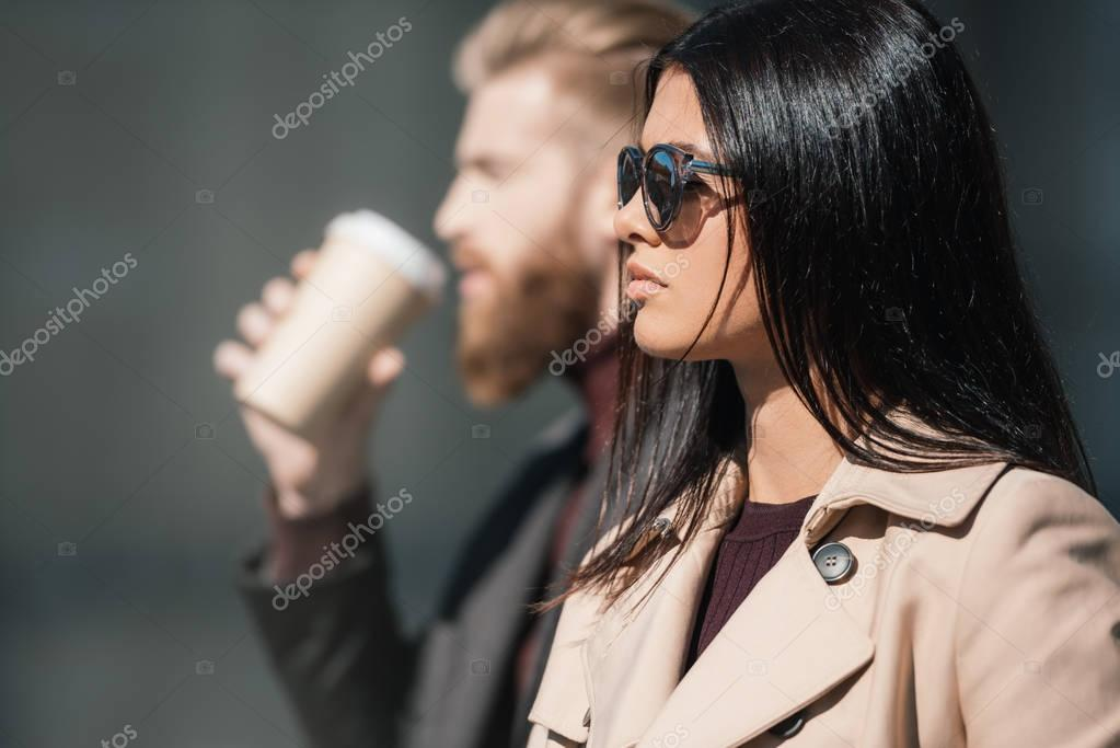 Stylish couple outdoors