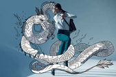 Fotografie stylish hipster woman with dragon