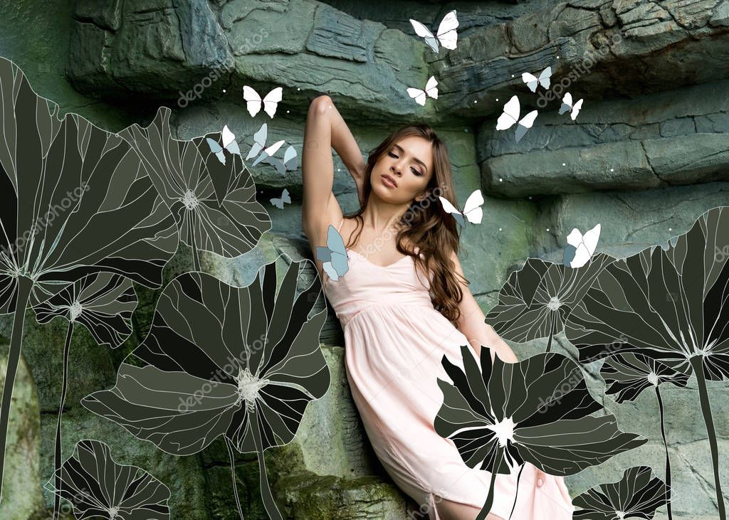 young seductive woman with butterflies