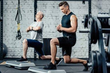 senior sportsman doing lunges