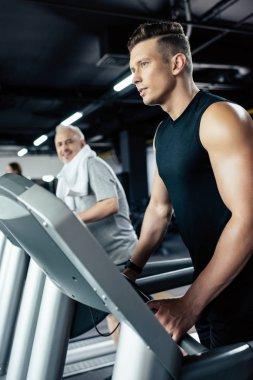 sportsman training on treadmill