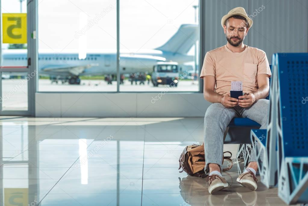 tourist waiting for boarding