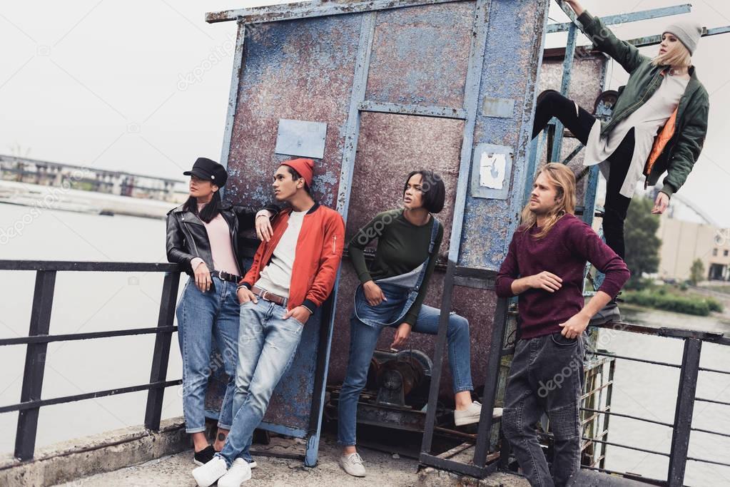 Stylish young people on riverside