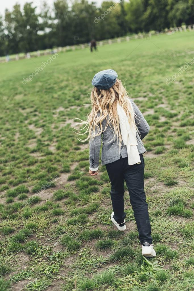 child running at countryside