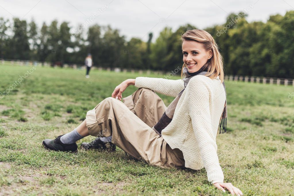 smiling woman at countryside