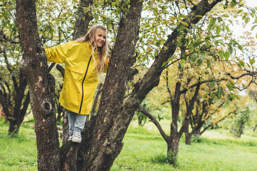 child in raincoat on tree