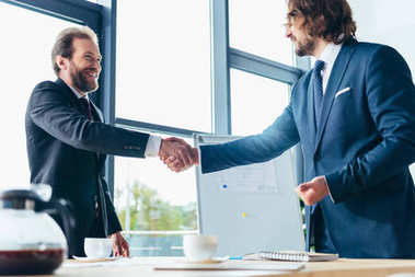 Two smiling professional businessmen shaking hands in office stock vector