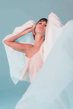 sensual girl posing with veil