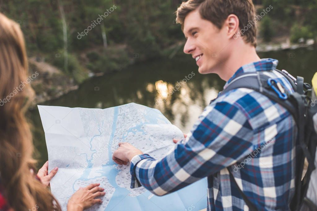 young hikers with map