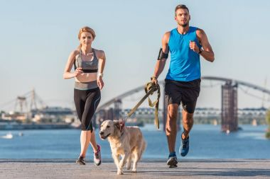 sports couple jogging with dog