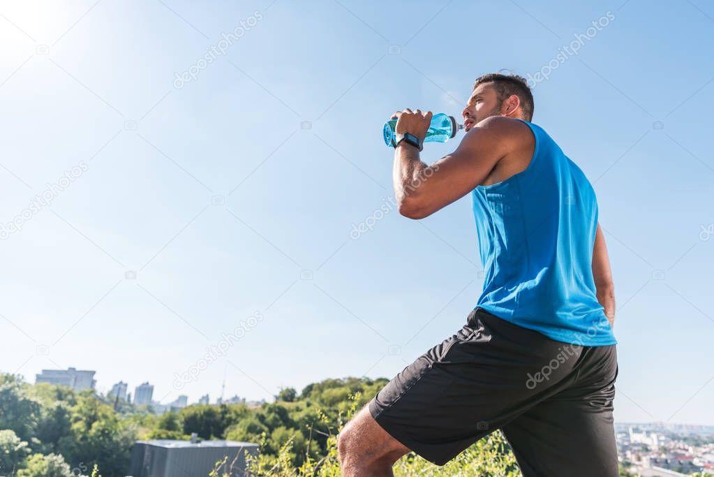 sportsman drinking water