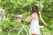 Fotografie beautiful girl with bicycle