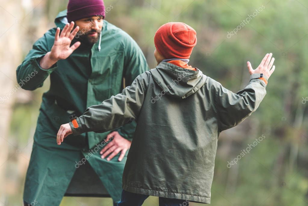 family giving high five