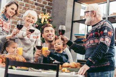 happy family toasting