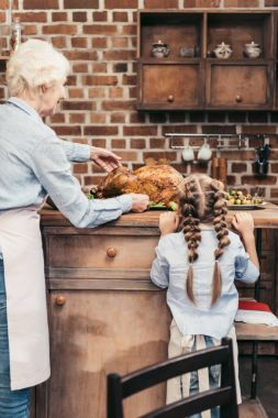 grandmother and granddaughter with turkey for thanksgiving