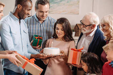 large family celebrating birthday