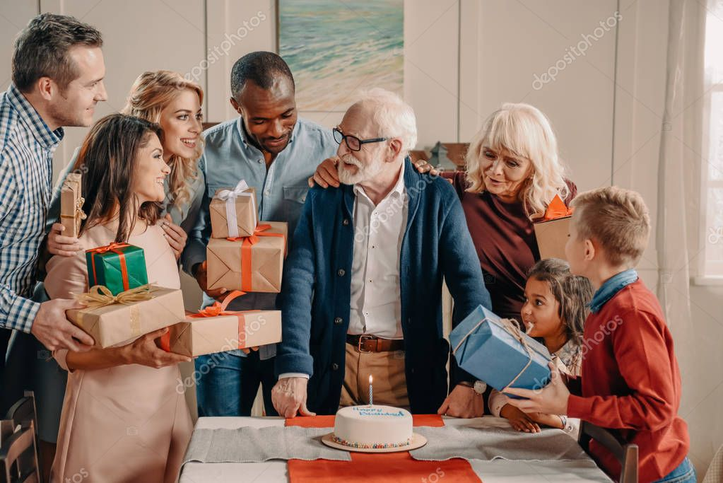 large family celebrating birthday