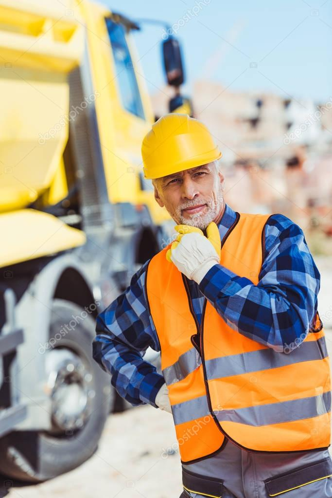 Construction worker in hardhat and vest