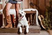 Fényképek nő a stílus boho kutya
