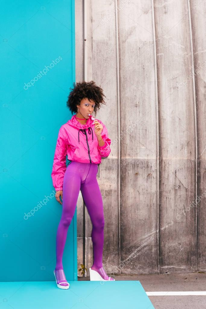 afro girl with popsicle