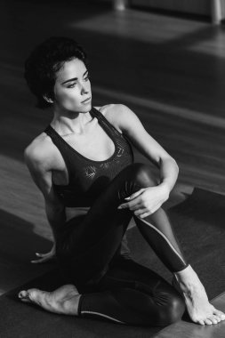 sportive woman stretching