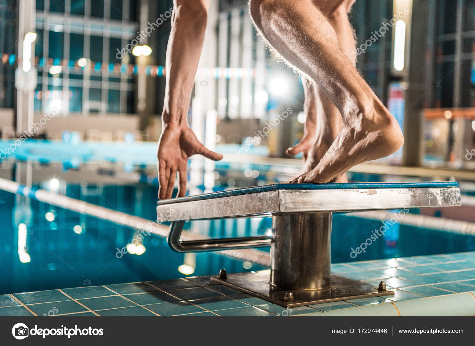Cropped View Of Swimmer Standing On Diving Board Ready To Jump Into  Competition Swimming Pool U2014 Photo By ArturVerkhovetskiy