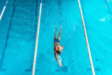 swimmer in competition swimming pool