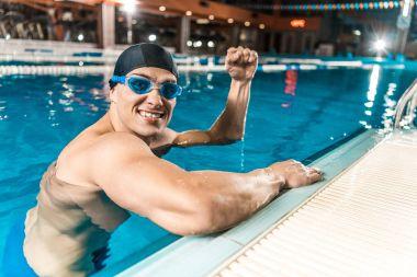winner in swimming pool