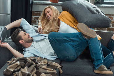 couple having fun on couch