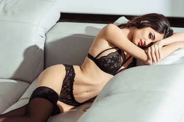 seductive woman in black lingerie