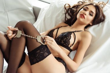 girl in sexy lingerie with handcuffs