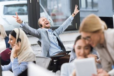 happy businessman at workplace
