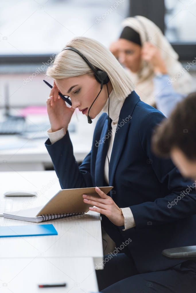 call center operator working in office