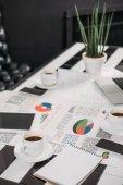 obchodní dokumenty na pracovišti s digitálními zařízeními a káva