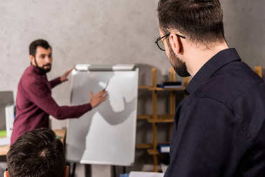 businessman describing something to colleagues at flipchart in office