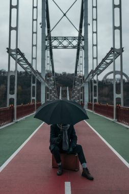 Stylish man with umbrella sitting on suitcase on pedestrian bridge stock vector