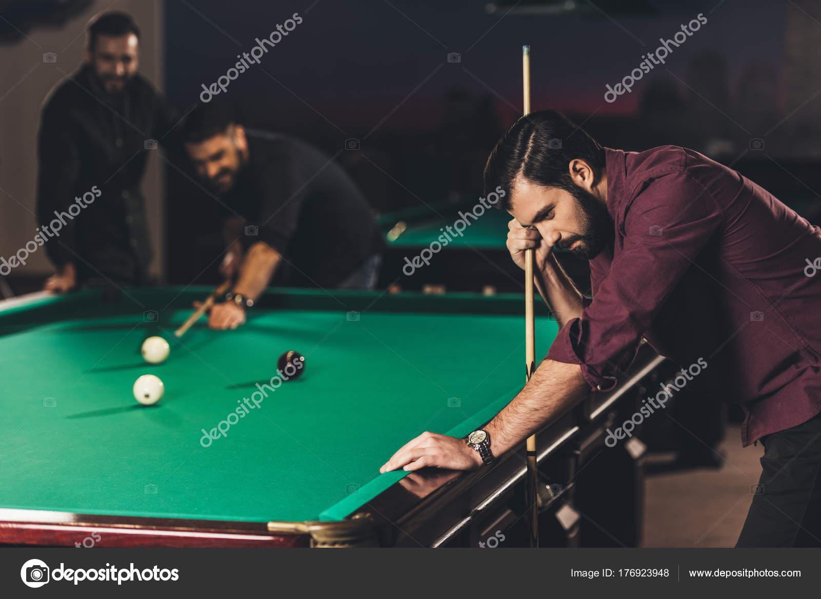 pool table bar. Interesting Bar Upset Caucasian Man Cue Pool Table Bar Friends U2014 Stock Photo Inside
