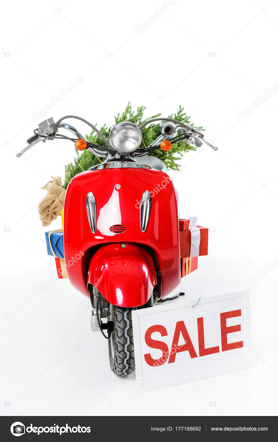 Christmas Tree Gifts Red Scooter Sale Sign Isolated White ...