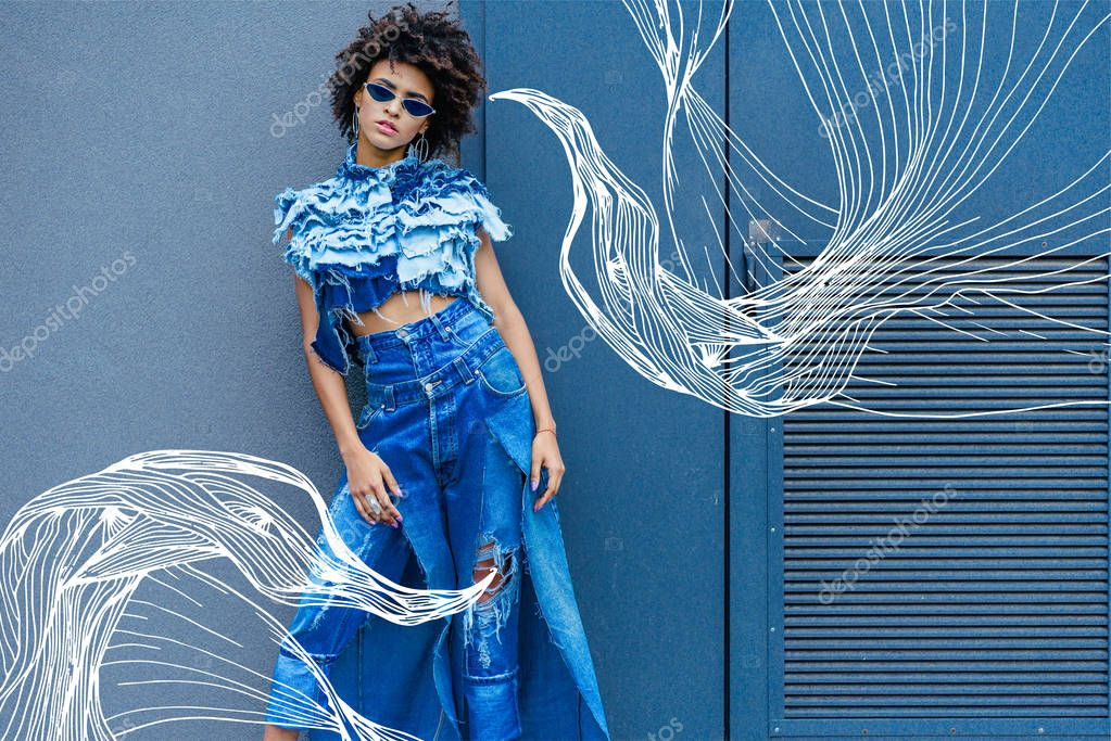 Fashionable afro girl posing in denim clothes and sunglasses stock vector