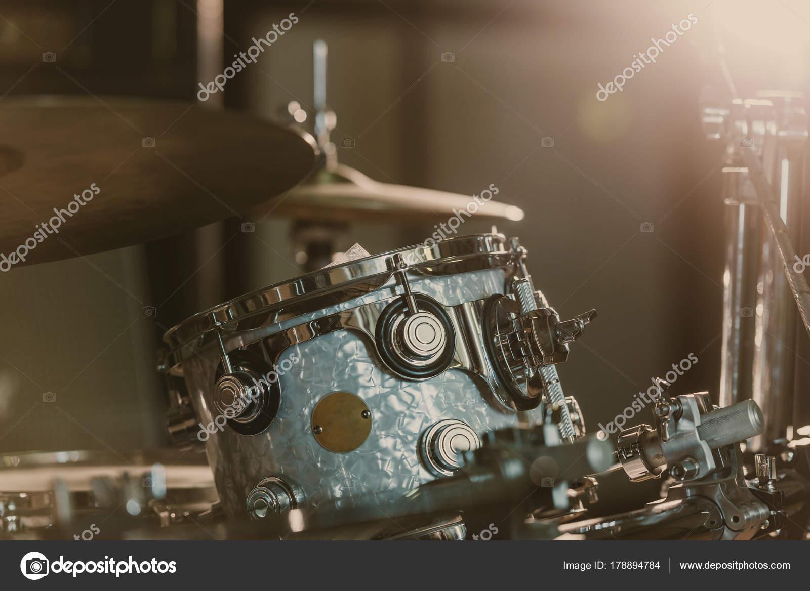 Close Shot Drum Set Spotlight Stage Stock Photo