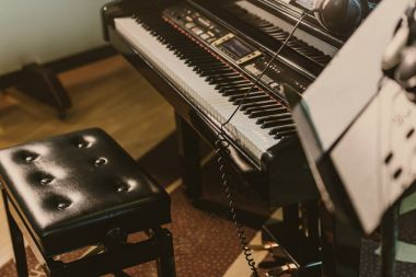 electric piano in sound recording studio