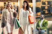 Stylový multietnické mladé ženy s nákupníma taškama a americký muž sedící za v obchoďáku
