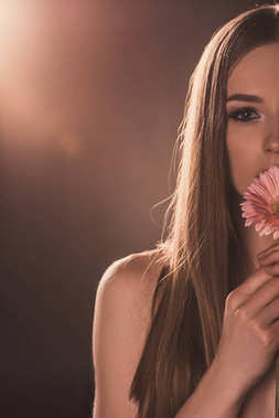 cropped view of attractive girl holding gerbera flower, on brown with back light