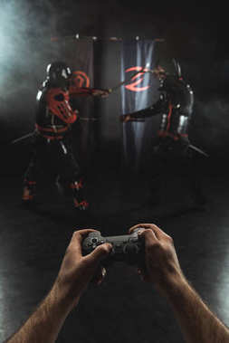Cropped shot of playing samurai fighting with gamepad in real life stock vector