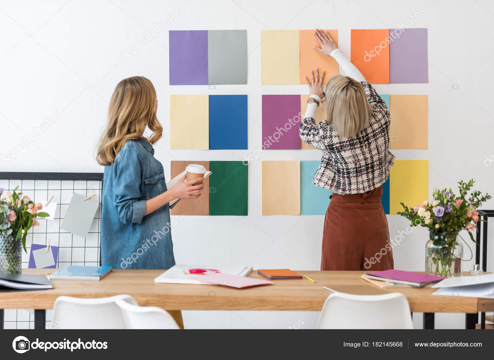 office color palette. Fashionable Magazine Editors Working Color Palette Modern Office \u2014 Stock Photo S