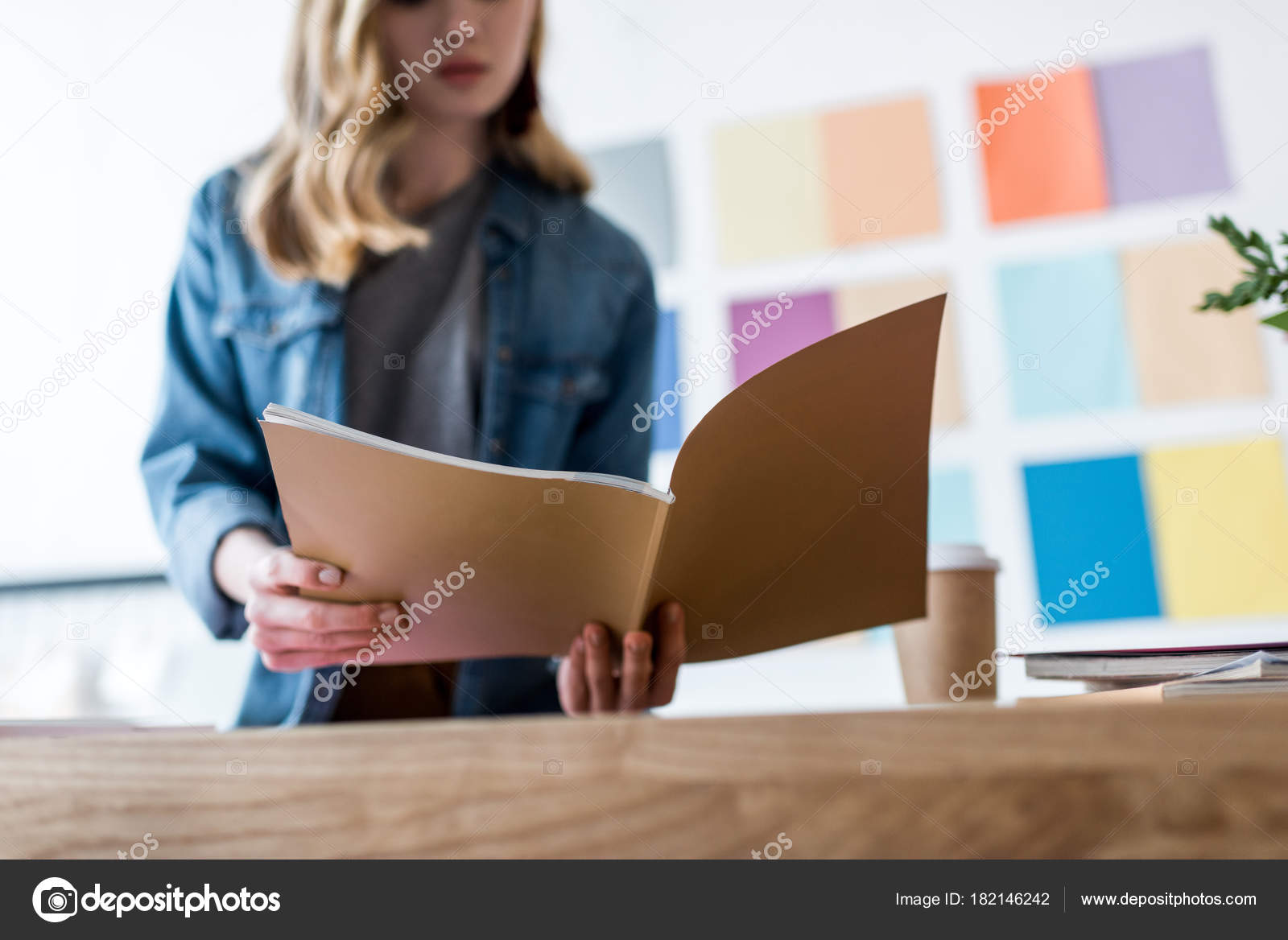 office color palette dentist cropped view magazine editor working modern office color palette wall stock photo