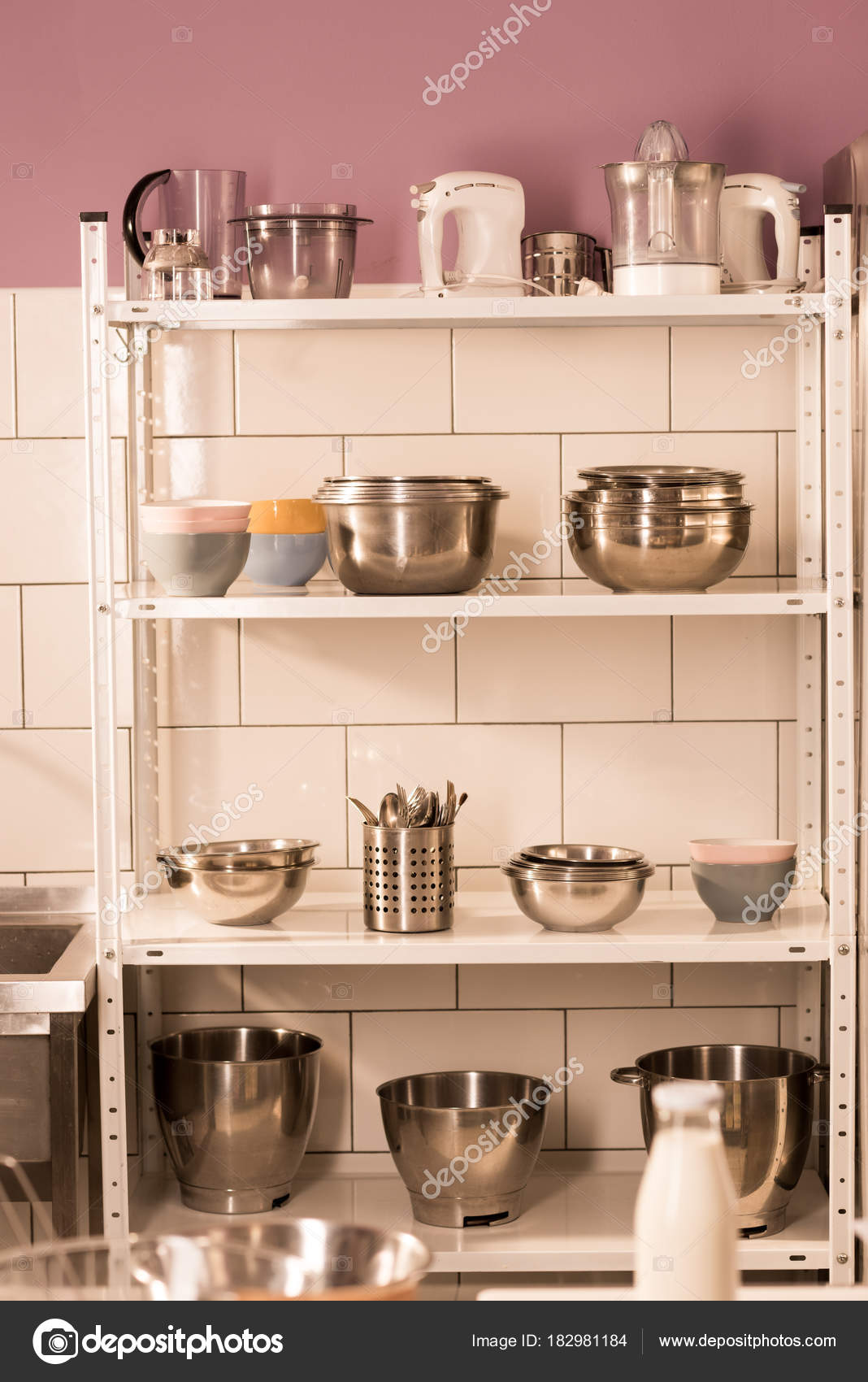 Close Up View Of Various Kitchen Supplies On Shelves In Restaurant Kitchen  U2014 Photo By ArturVerkhovetskiy