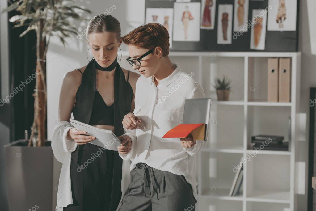 young fashion designers working together at office