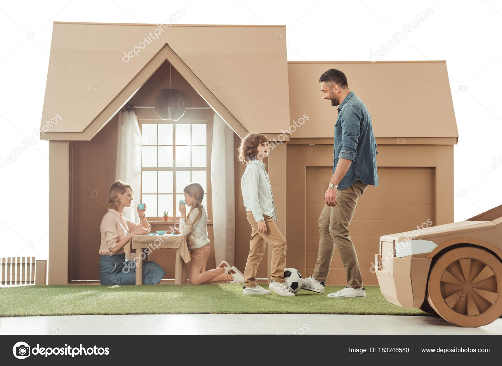 Young Father Teaching His Som Play Soccer Yard Cardboard